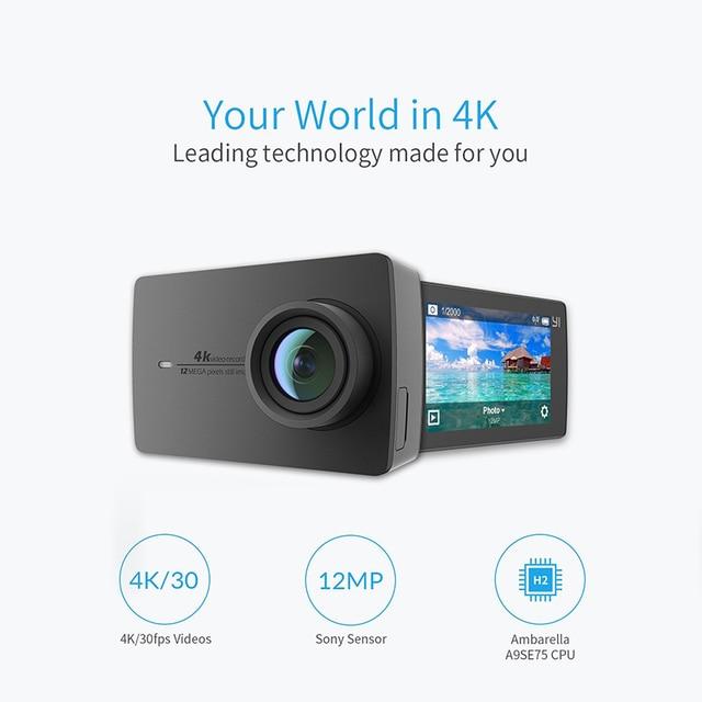 "YI 4K Action Camera 2.19""LCD 4K/30fps Tough Screen 155 Degree EIS Wifi Black International Edition Ambarella A9SE75 12MP CMOS 1"