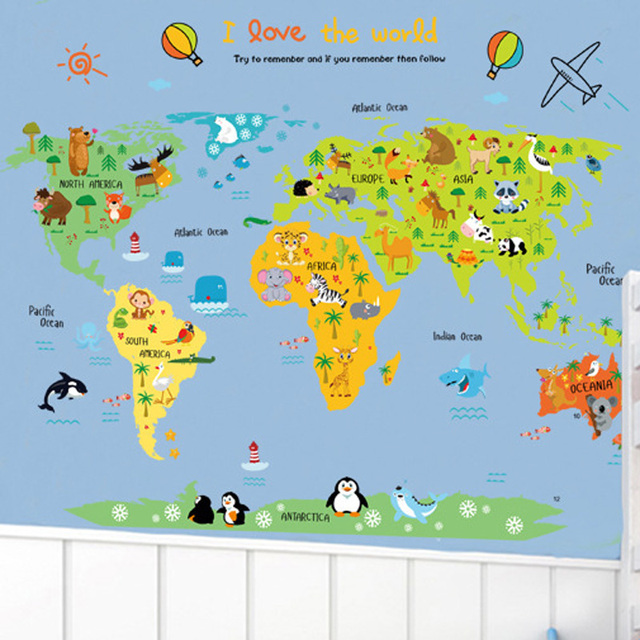 Buy Cartoon animals world map wall stickers for kids rooms k