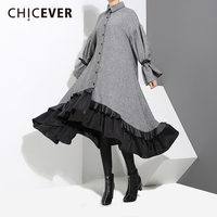 CHICEVER Winter Irregular Women Dress Tunic Flare Sleeve Loose Big Size Patchwork Hem Dresses Female Clothes