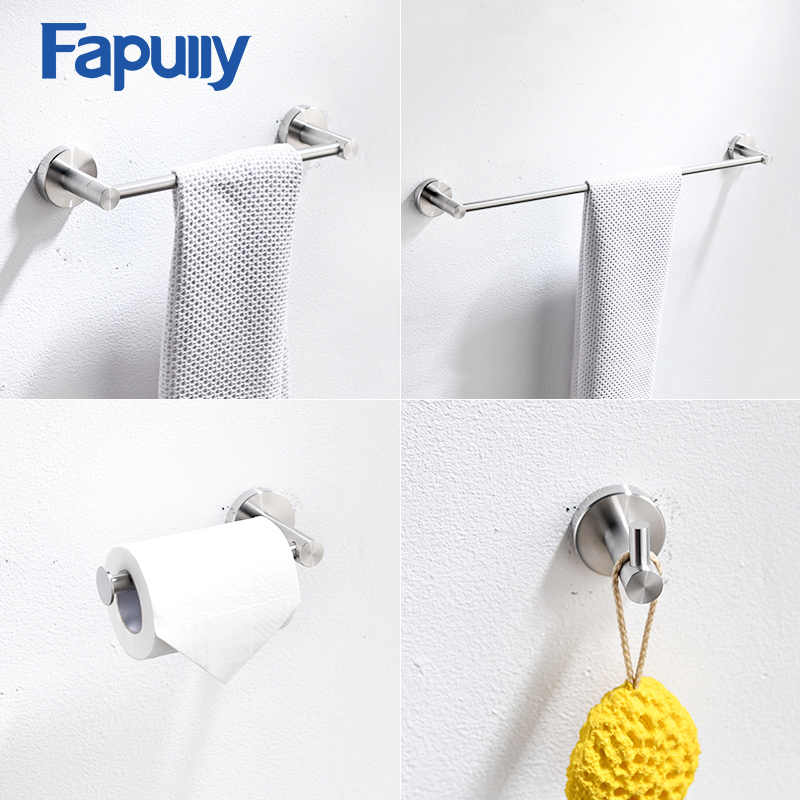 Fapully Stainless Steel Bathroom Accessories Hardware Wall Mounted Towel Bar