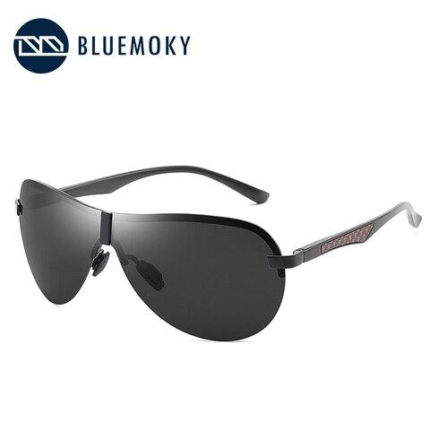 BLUEMOKY Male Rimless Siamese Aviation Sunglasses for Men Polarized UV400 Pilot Sun Glasses for Men Polaroid Sports Eyewear Islamabad