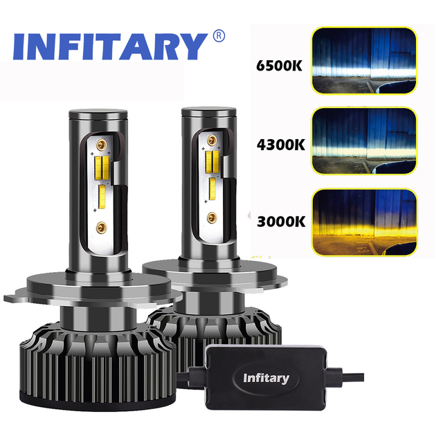 infitary 2 stks h4 led h1 h11 9005 h7 led auto koplamp 3 kleur veranderende koplampen