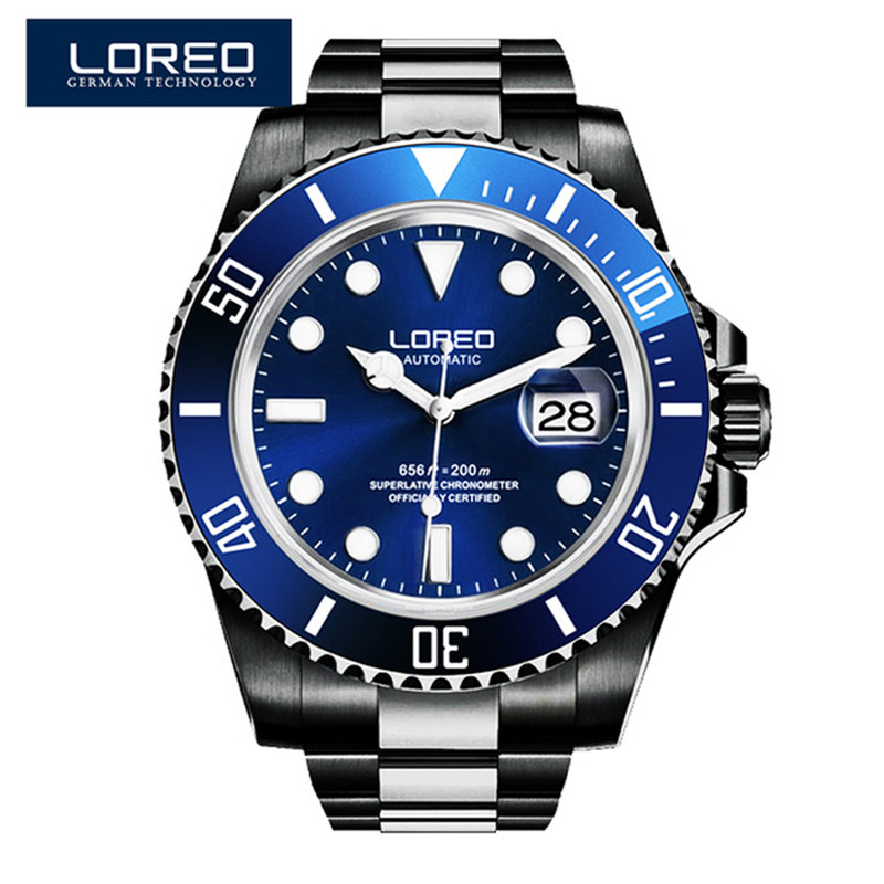 LOREO Diver Watches Men Skeleton Mechanical Watch Auto Date Black Stainless Steel Strap Luxury Classic Luminous Wristwatch O70 loreo automatic self wind watch men mechanical relogio luminous stainless steel auto date watch man diver wristwatches k43