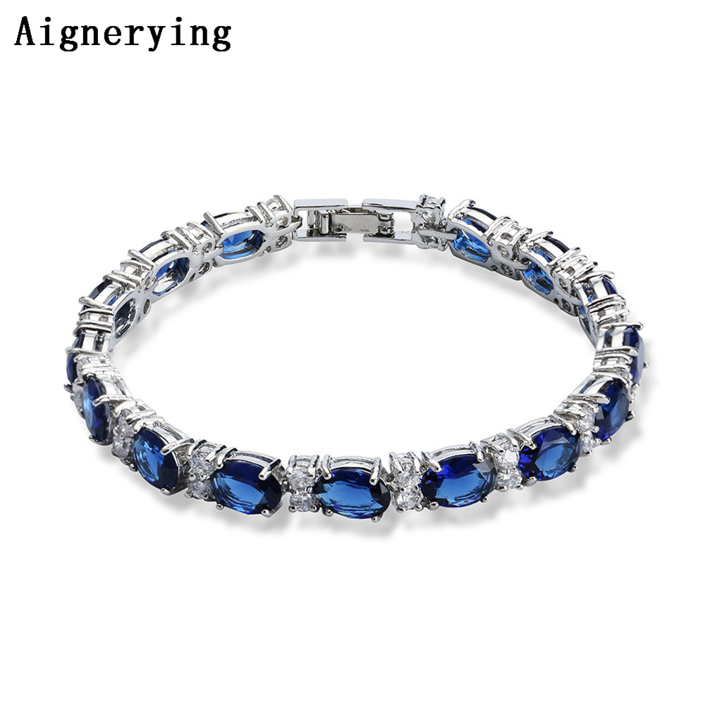 Vintage Bleu Saphir Bracelet Pour Les Femmes 925 Bijoux En Argent Sterling Romantique De Mariage Bijoux Cadeau Boîte
