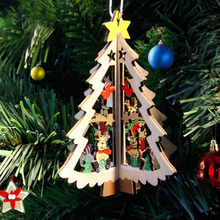 1pc Cute Mini Christmas Tree with Ornament 11cm Wooden DIY Tiny Christmas Decorations for Home Kids Gift Xmas Supplies(China)