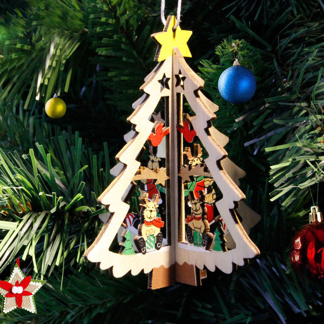 1pc cute mini christmas tree with ornament 11cm wooden diy tiny christmas decorations for home kids - How To Make Miniature Christmas Decorations