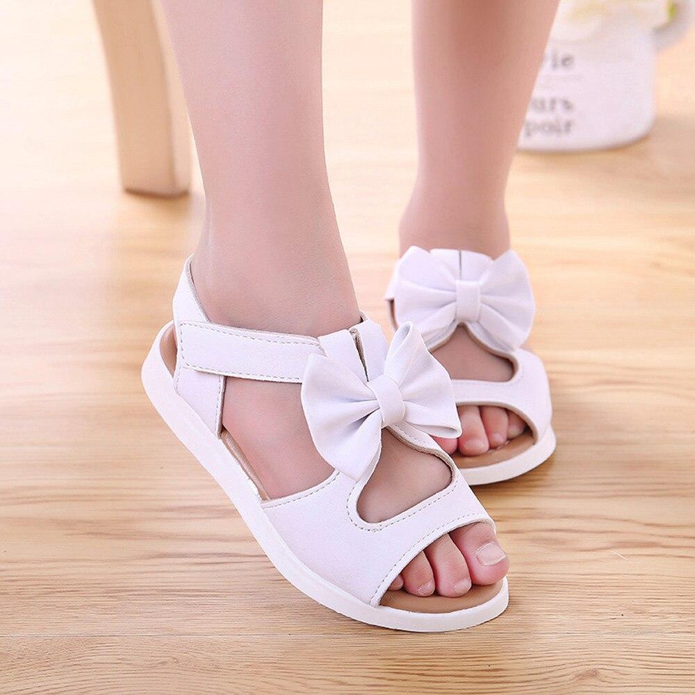 3d0dcb9552 Summer Girls Sandals Solid And Bows Toddler Girl Sandal Cute And  Comfortable Kids Sandals Anti-slip Chlidren Sandal