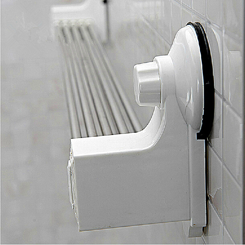 Bathroom Stainless Steel Folding Towel Rack Strong Suction Cup Drying Retractable 60cm In Bars From Home Improvement On
