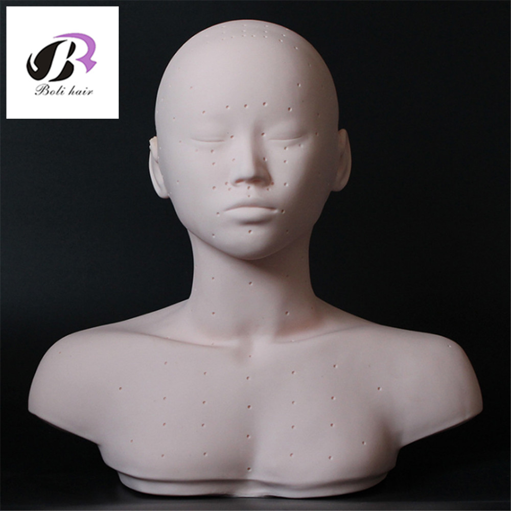 New Closed Eyes Mannequin Head With Shoulder Acupoint Acupuncture Massage Makeup Eyelash Extension Practice Model Head mannequin