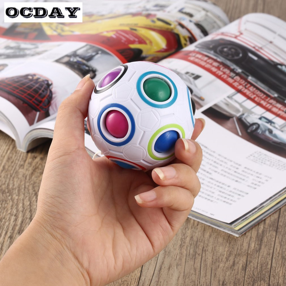 OCDAY Rainbow Ball Magic Football Cube Speed Puzzle Block Ball Educational Learning Toys For Children Adult Stress Reliever Hot