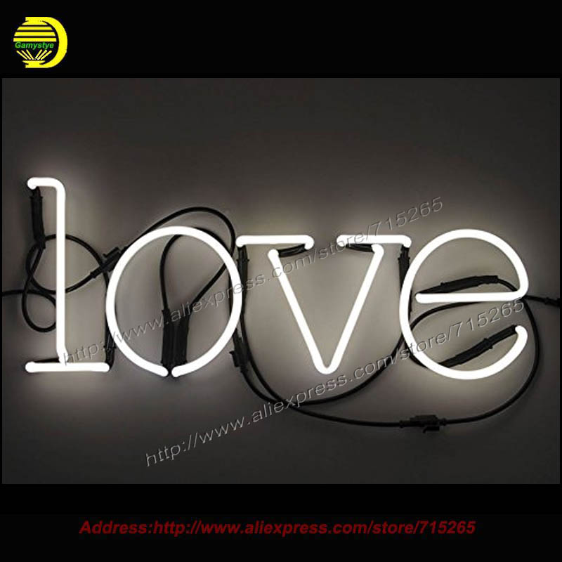 New Neon Sign Neon Art lamp Glass Tube Neon Bulbs Kiss LOVE Handcrafted STAR Recreation Home Room Wall Iconic Sign CUSTOM Heart neon sign for donuts bar cakes cave real glass tube beer pub restaurant signboard store display shop light signs 17 14