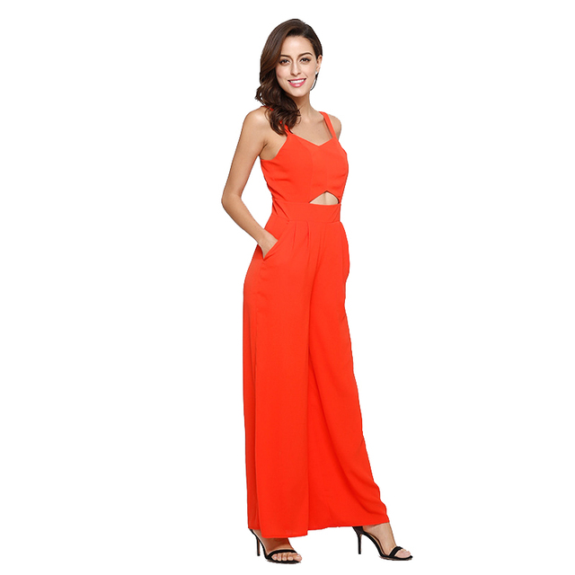 21d41a011f7 Playsuit Women Polyester Orange Red Blue Rompers Jumpsuits Sexy Backless  Strapless Hollow Out Summer Fashion Women s