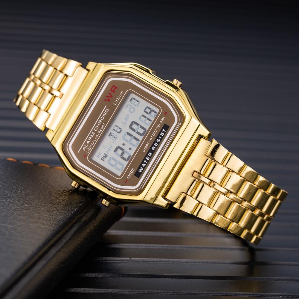 Luxury Gold LED Digital Watch Men Women Fashion Bracelet Watch Casual Sport Multi-Functional Electronic Clock Reloj Mujer Hombre