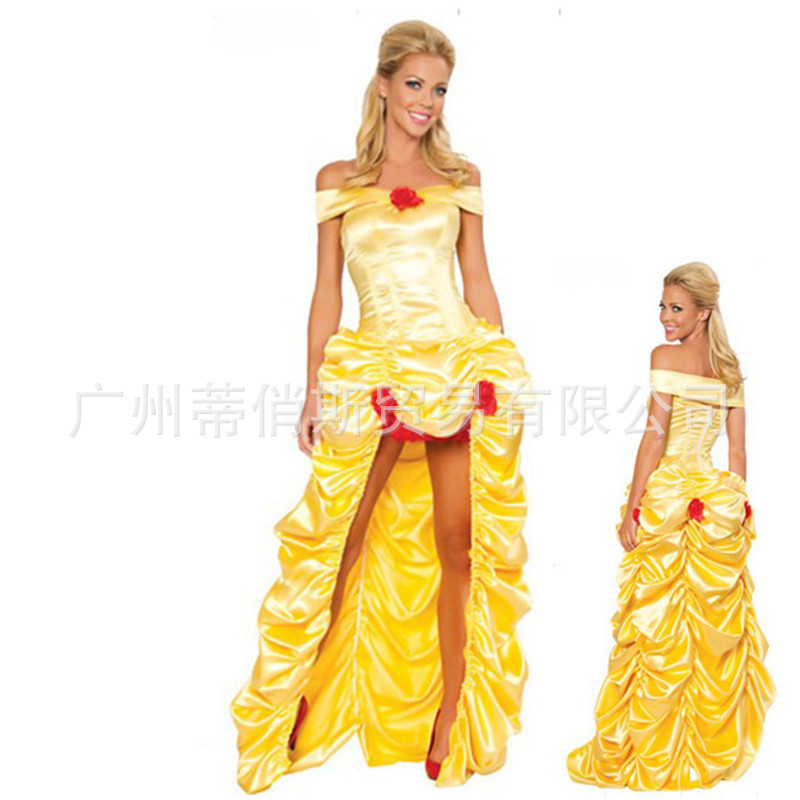 Beauty and the Beast Halloween Princess belle cosplay Costume Yellow Halloween belle cosplay Dress party carnival fancy costume