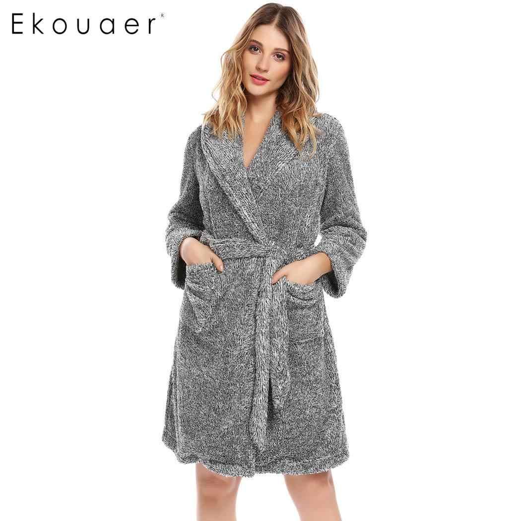 d29df8215f Ekouaer Winter Robes Women Kimono Plush Bathrobe Long Sleeve Shawl Collar Sleepwear  Spa Robe Soft Bridesmaid