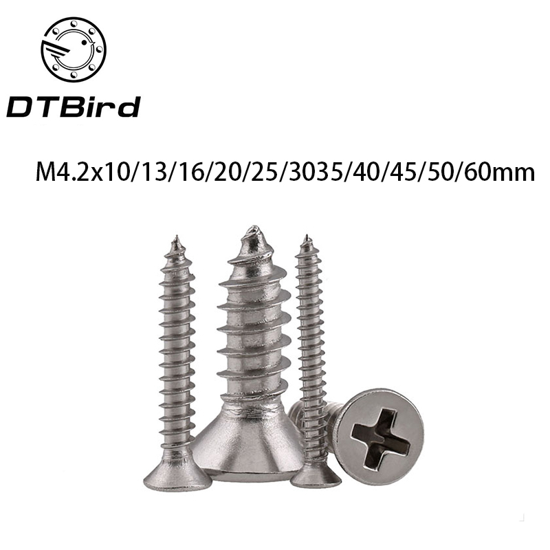 GB846 M4.2 Cross Recessed Phillips Countersunk Flat Head Self-tapping Wood Screws For Laptop 304 Stainless Steel LD008 Hot Sale 25pcs 304 stainless steel countersunk head phillips screws phillips flat head screw m5 10