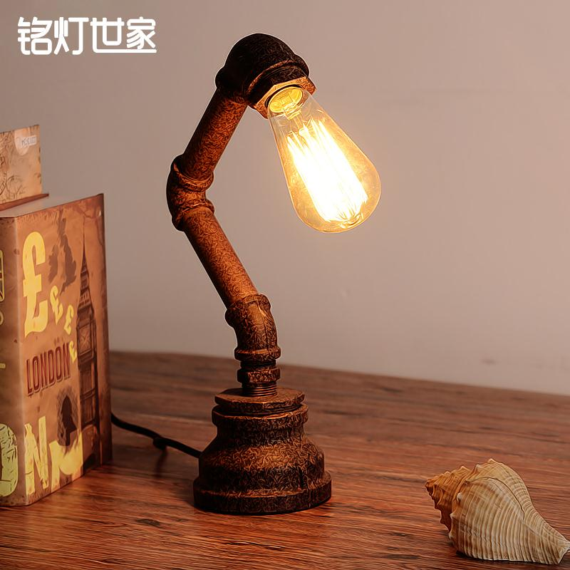 Loft Edison Industry Retro Study Table Lamp Personality Water Pipe Coffee Office DecorationTable Lamp Free Shipping loft american edison vintage industry crystal glass box wall lamp cafe bar coffee shop hall store club