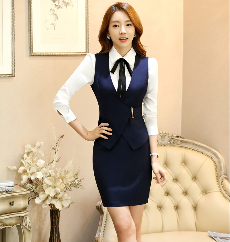 New Fashion Elegant Wine 2016 Spring Autumn Formal Work Suits 2 Pieces Vest + Skirt Ladies Office Uniforms Outfits Blazers Sets
