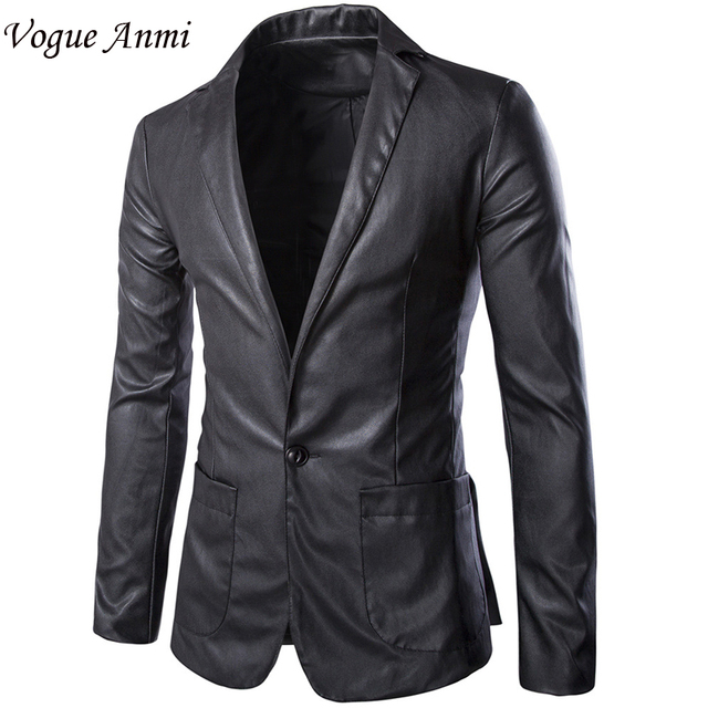 Vogue Anmi Brand New Autumn Casual Blazer Men Slim Fit Mens Blazer Jacket Leather Suit Men Top Quality Single Button