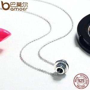 Image 4 - BAMOER otantik % 100% 925 gümüş kademeli değişim yuvarlak tekerlek mavi melodi kolye kolye kadınlar için güzel takı hediye