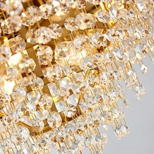 Image 5 - Golden irregular crystal chandelier rectangular led restaurant lamp luxury living room hotel engineering decorative lamp