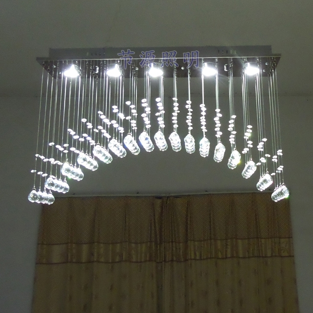 Rainbow Arched Rectangular Living Room Crystal Chandelier Bedroom Lamp LED  Light Bar Restaurant Lights Off Curtain