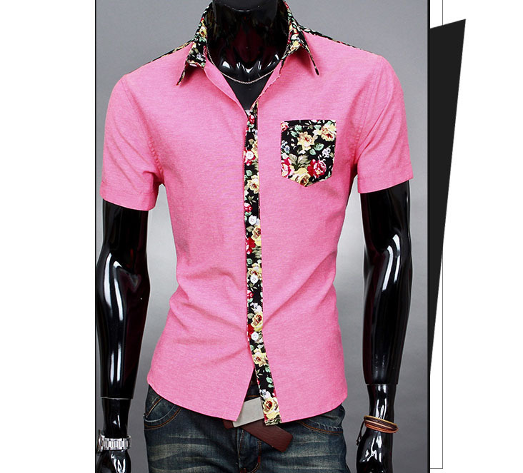 Pink short sleeve shirt mens artee shirt for Mens slim fit short sleeve shirt