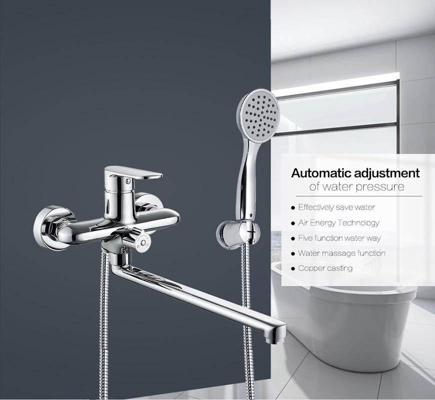 Micoe Bathtub Faucet Bathroom Bathtub Shower Set Chrome Wall Faucet Brass Bathtub Sink Mixer Water Mixer Hand Shower H-HC606