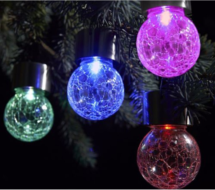 Outdoor Solar Powered Led Hanging Lamp, Decorative Colorful Led Ball Globe  Lamps, Cracks Ball ...