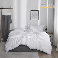 Simple&Opulence 100% Linen Duvet Cover Set Stone Washed Linen Solid Color Basic Style King Queen Twin Full