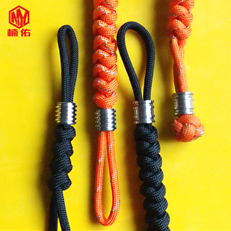 1PC EDC Handmade Paracord Rope With Titanium Paracord Beads Knife Beads Rope Cord Beads Lanyard Pendants Outdoor Accessories