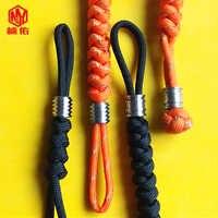1PC EDC Handmade Paracord Rope With Titanium Paracord Beads Knife Beads Rope Cord Beads Lanyard Pendants Outdoor Accessories