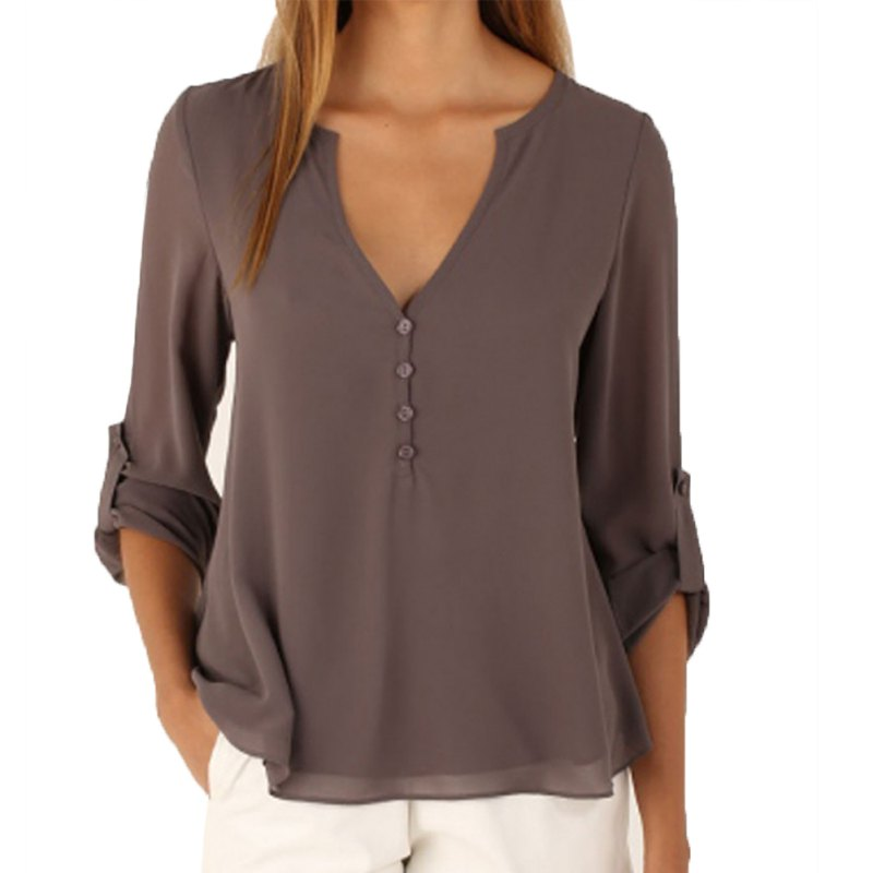 3e2b8116 US $6.89 |Blouse Chiffon Shirt Tops Women V Neck Long Sleeved Shirt Ladies  Casual Large Size Sexy New Summer crop top-in Blouses & Shirts from Women's  ...