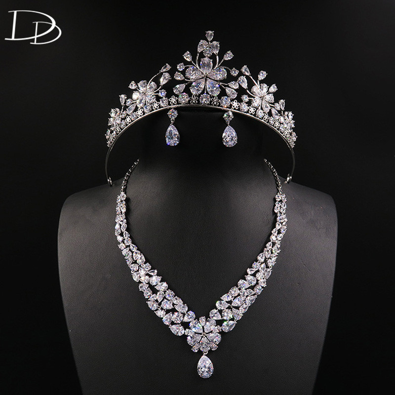 DODO Cherry Bridal Wedding Jewelry Set AAA Cubic Zircon & Copper Real White Gold Color Tiara Necklace Earrings Women Sets D15365 orange morganite stylish jewelry set for women white zircon gold color rings earrings necklace pendant bracelets