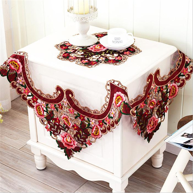 [WIT]85x85cm Luxurious Europe Polyester Tablecloth Square Embroidered  Wedding Tablecloth Cutwork Lace Table Cloth