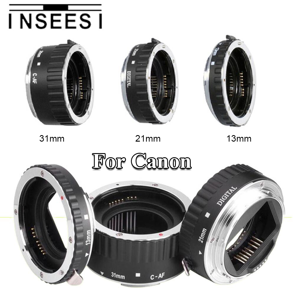 INSEESI Argento Mount Metallo Messa A Fuoco Automatica AF Macro Ring Tubo di Prolunga Lens Adapter Per Canon EF EF-s 60D 650D 70D 700D SLR telecamere