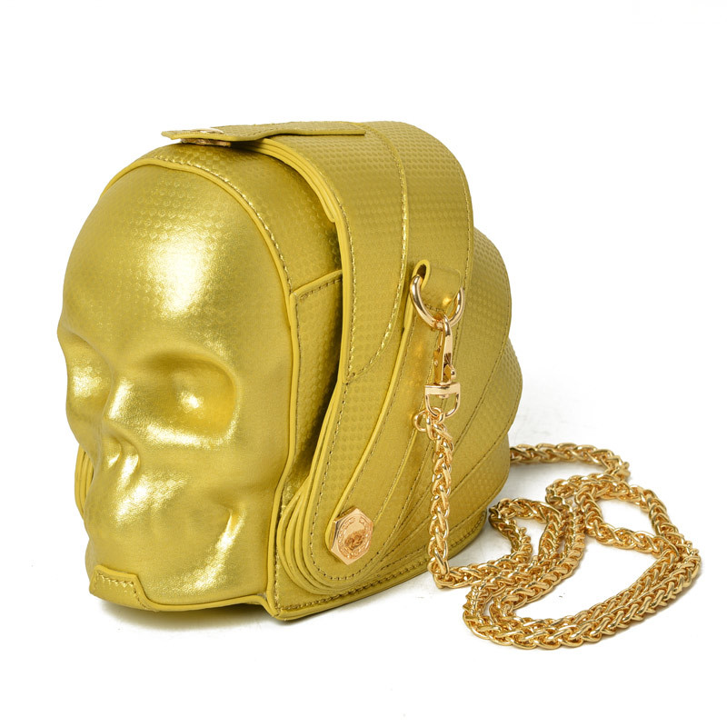 New Fashion Gothic Retro Rock  Skull Bag Halloween Women Messenger Bags Black And Gold Women Mobile Phone Shoulder Bags  2