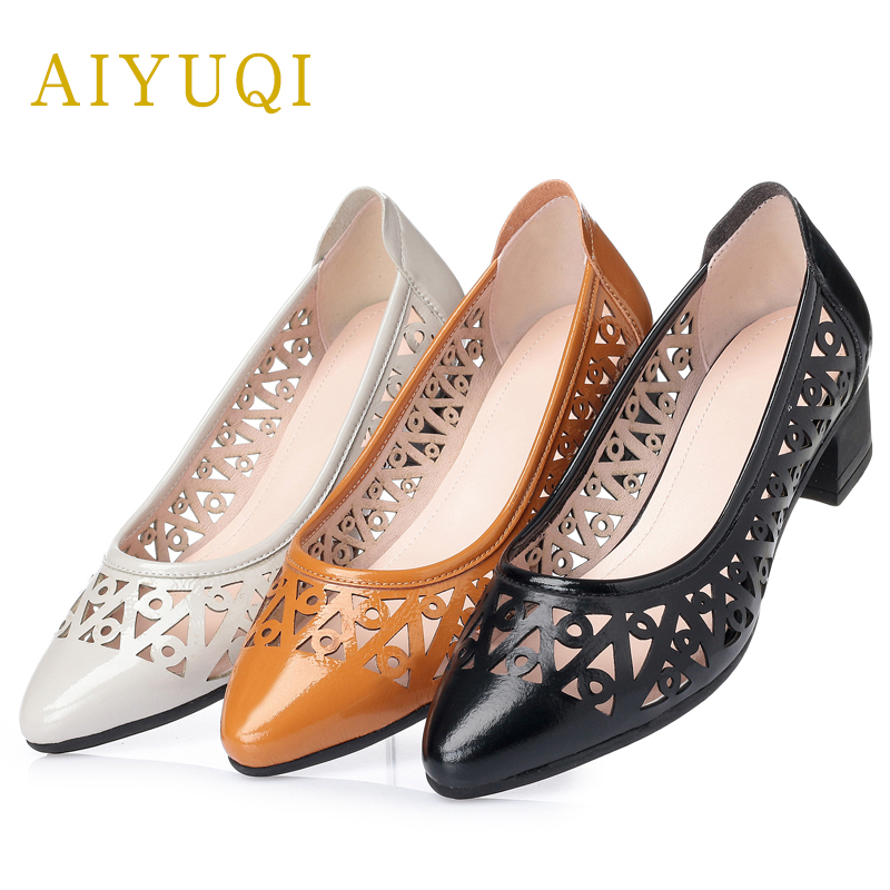 AIYUQI Plus size 41#42#43# womens sandals summer genuine leather women  shoes comfortable breathable hole casual shoes women