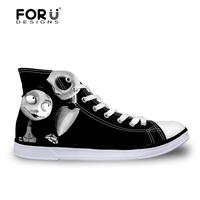 FORUDESIGNS Casual Women Sneakers 3D Fashion Skull Brand Designer Women High Top Vulcanized Shoes For Female