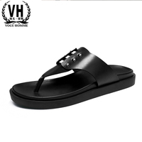 The Trend Of Men S Leather Flip Flops Increased Thick Soled Sandals And Slippers Comfort Men