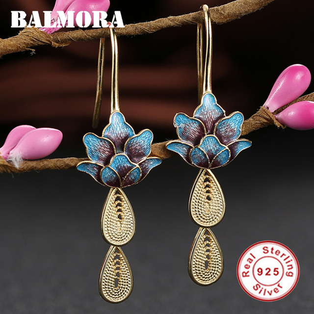 BALMORA 925 Sterling Silver Vintage Drop Earrings for Women Gift Gold Color Ethnic Enameling Earrings Jewelry Brincos SY31569