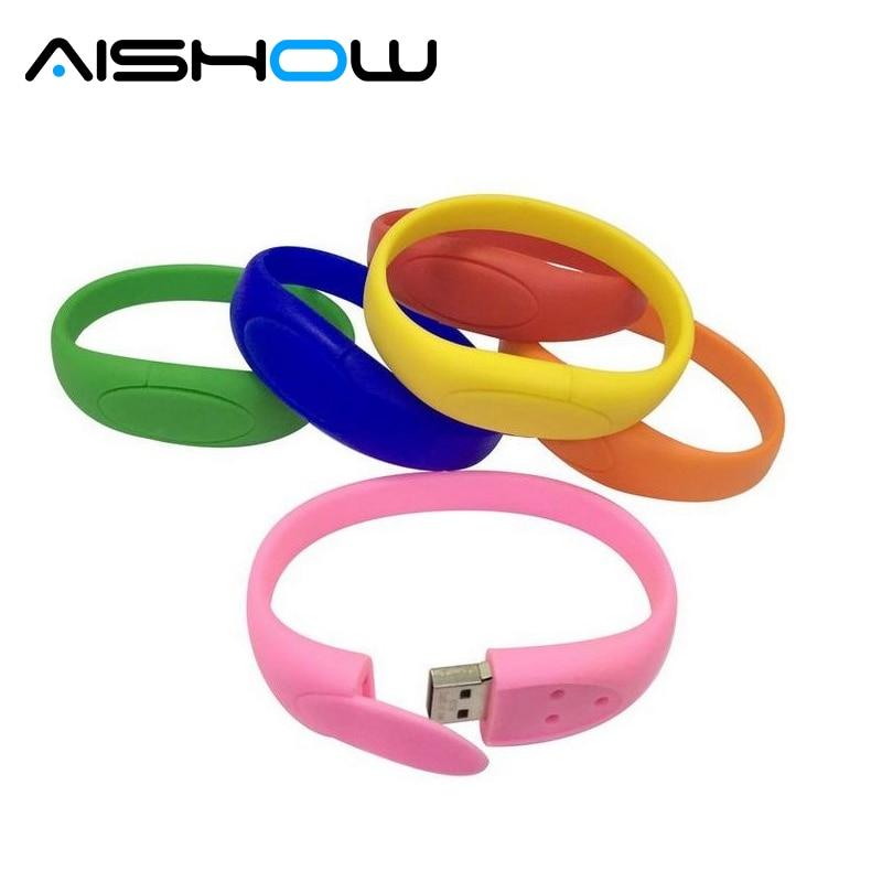 100% real capacity Silicone Bracelet Wrist Band 16GB USB 2.0 USB Flash Drive Pen Drive Stick U Disk Pendrive Free shipping
