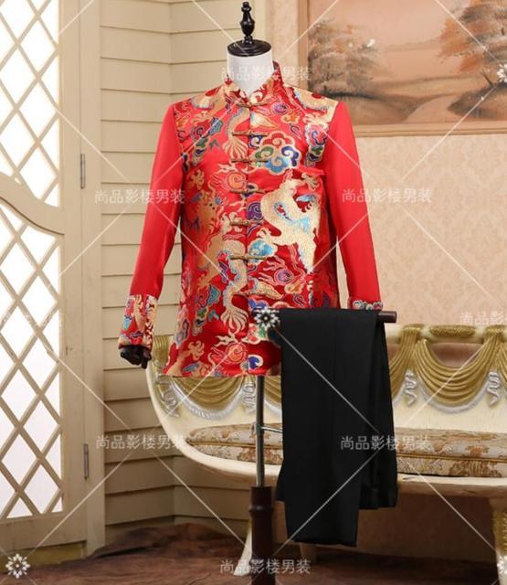 O noivo do casamento brinde vestido de noiva vestido de meia dragão tang terno roupas de estilo chinês dos homens de roupas trajes