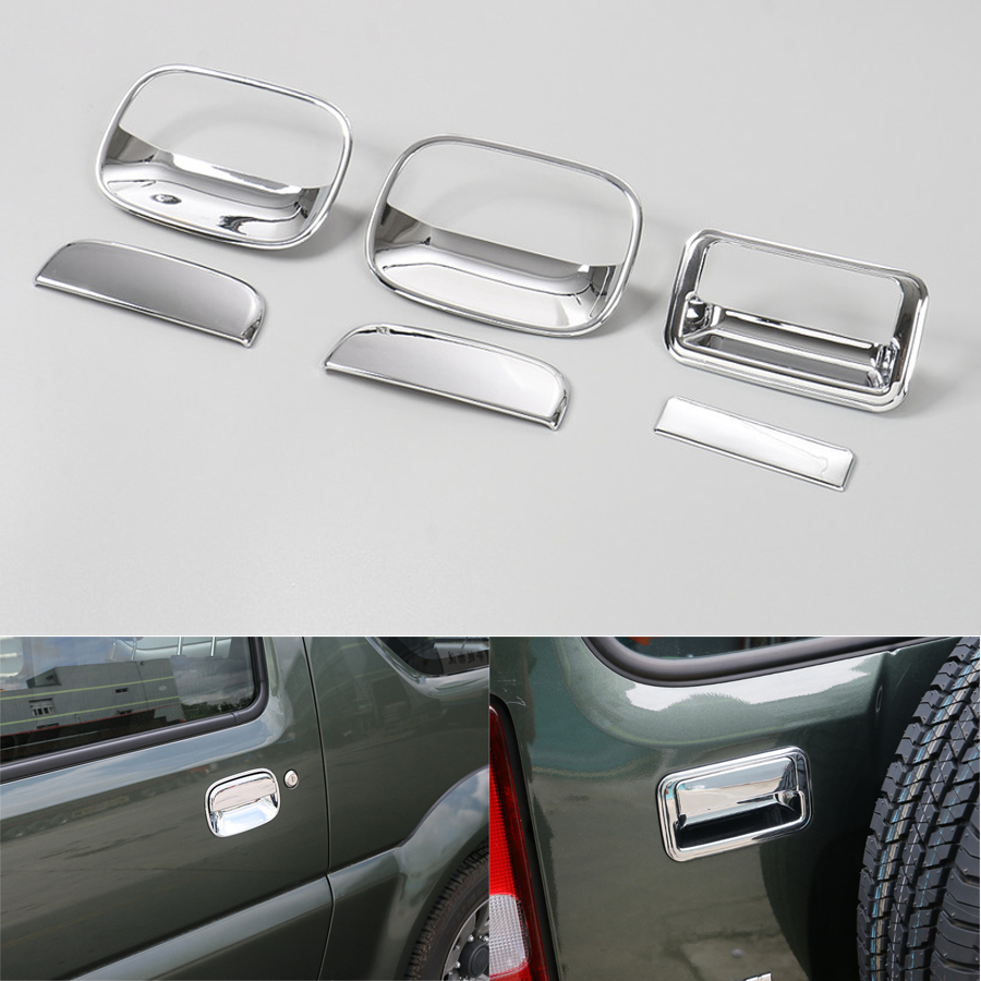 Esterno Auto Porta + Maniglia Dello Sportello posteriore Bowl Decorazione Telaio di Copertura Trim Styling Auto-copre 6 Pz ABS Per Suzuki Jimny 2007-2015