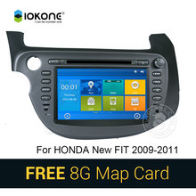 IOKONE Car DVD Video Player GPS navi Stereo multimedia for Honda FIT JAZZ With Bluetooth phone book SWC Touch screen 8G SD card