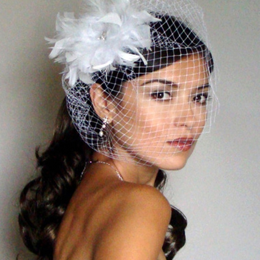Short Wedding Veils New Birdcage Veil One Layer Net Tulle