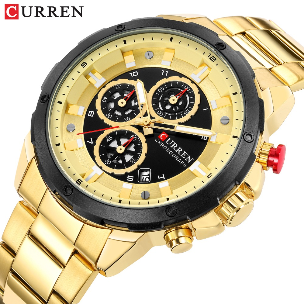 CURREN Chronograph Sport Watches For Men Casual Business Wristwatch With Calendar Quartz Men's Watch Male Clock Relojes Gold