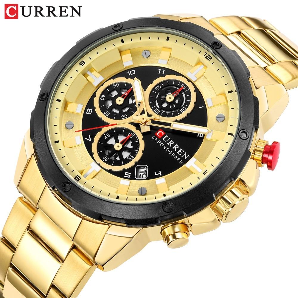 CURREN Chronograph Sport Watches For Men Casual Business Wristwatch With Calendar Quartz Men's Watch Male Clock Relojes Gold