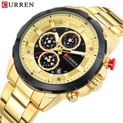 CURREN Chronograph zegarki sportowe dla mężczyzn Casual Business zegarek z kalendarzem zegarek kwarcowy męski męski zegar Relojes Gold w Zegarki kwarcowe od Zegarki na