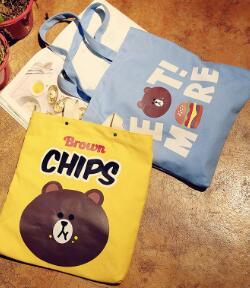 Einkaufstaschen 2019 Heißer Neue Mode Frauen Weibliche Cartoon Druck Koreanische Braun Bär Hamburg Chips Student Leinwand Einkaufstaschen Schulter Taschen